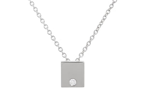 Square Love Stories Diamond Pendant, Sterling Silver