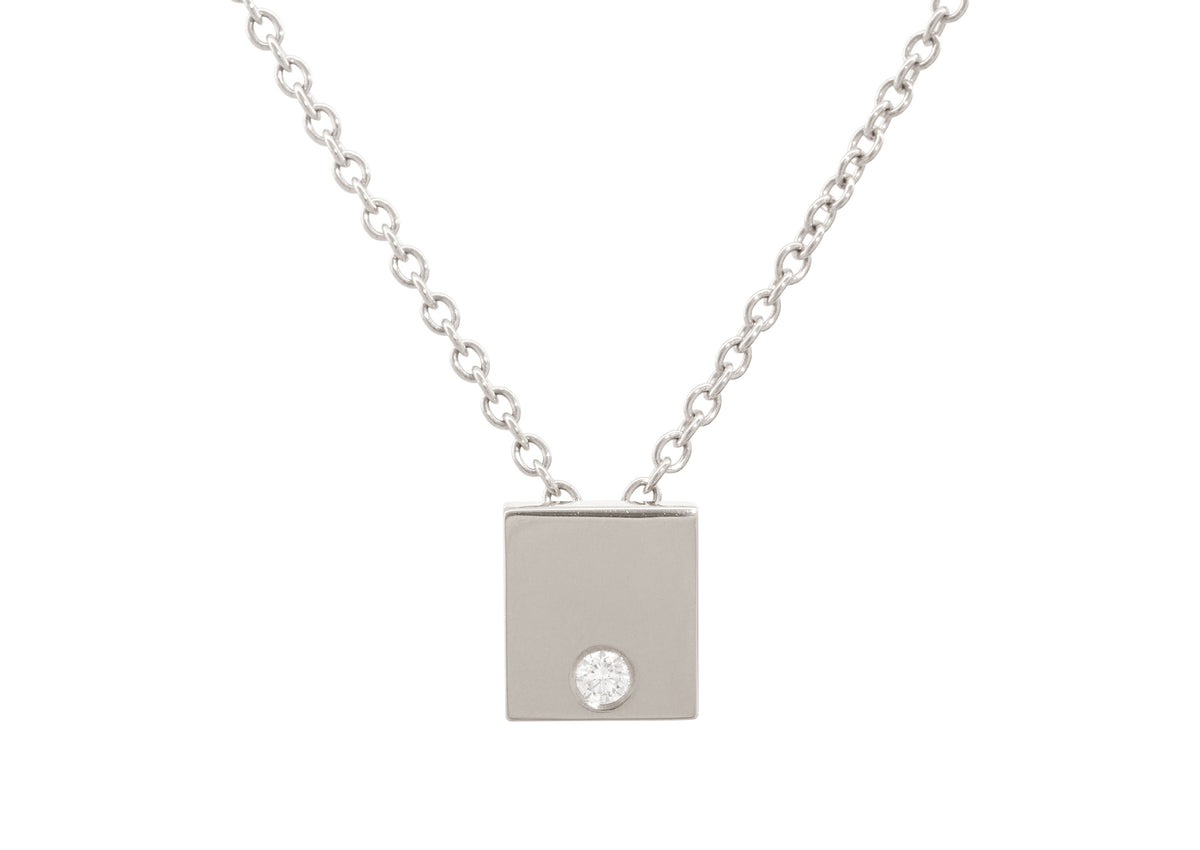 Square Love Stories Diamond Pendant, White Gold & Platinum