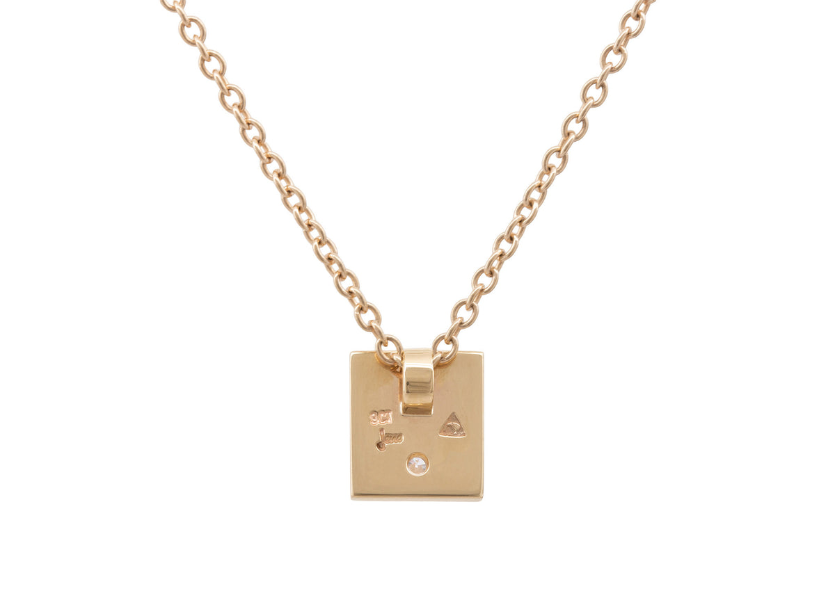 "Square ""Love Stories"" Diamond Pendant, Yellow Gold"