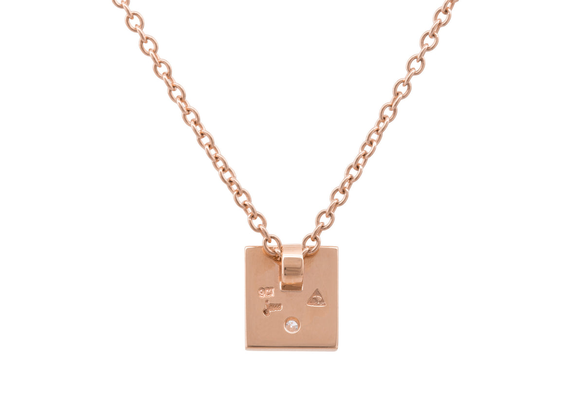 "Square ""Love Stories"" Diamond Pendant, Red Gold"