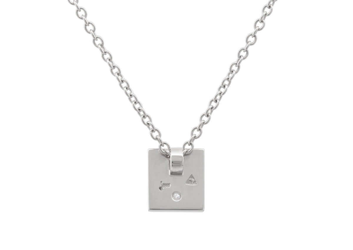 "Square ""Love Stories"" Diamond Pendant, Sterling Silver"