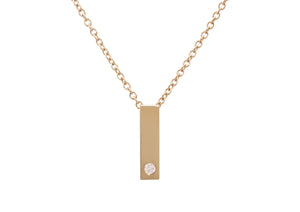 "Rectangle ""Love Stories"" Diamond Pendant, Yellow Gold"