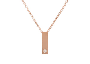 "Rectangle ""Love Stories"" Diamond Pendant, Red Gold"