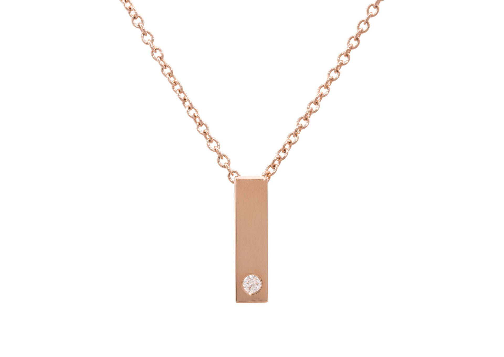 Rectangle Love Stories Diamond Pendant, Red Gold