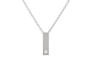 "Rectangle ""Love Stories"" Diamond Pendant, Sterling Silver"
