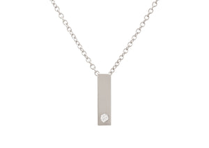 Rectangle Love Stories Diamond Pendant, White Gold & Platinum