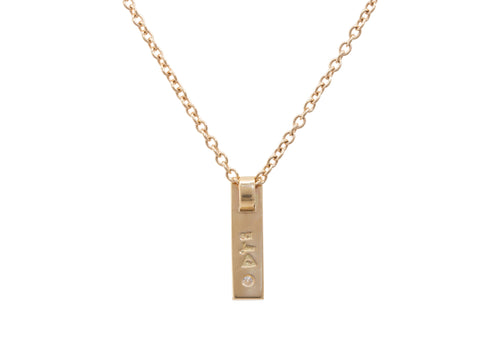 Rectangle Love Stories Diamond Pendant, Yellow Gold