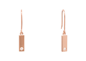 Rectangle Love Stories Diamond Earrings, Red Gold