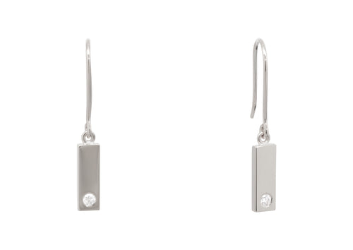 "Rectangle ""Love Stories"" Diamond Earrings, Sterling Silver"