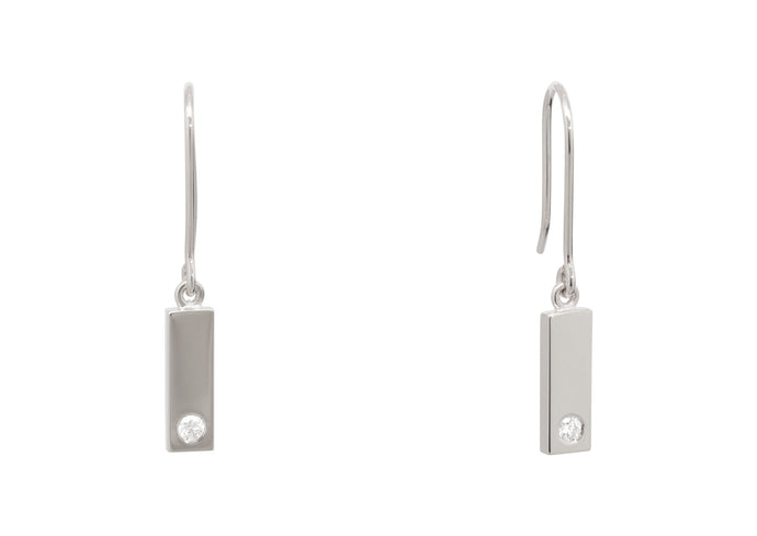 Rectangle Love Stories Diamond Earrings, Sterling Silver