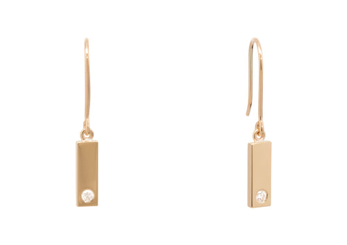 "Rectangle ""Love Stories"" Diamond Earrings, Yellow Gold"