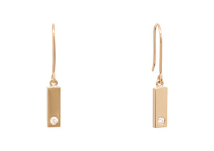 Rectangle Love Stories Diamond Earrings, Yellow Gold