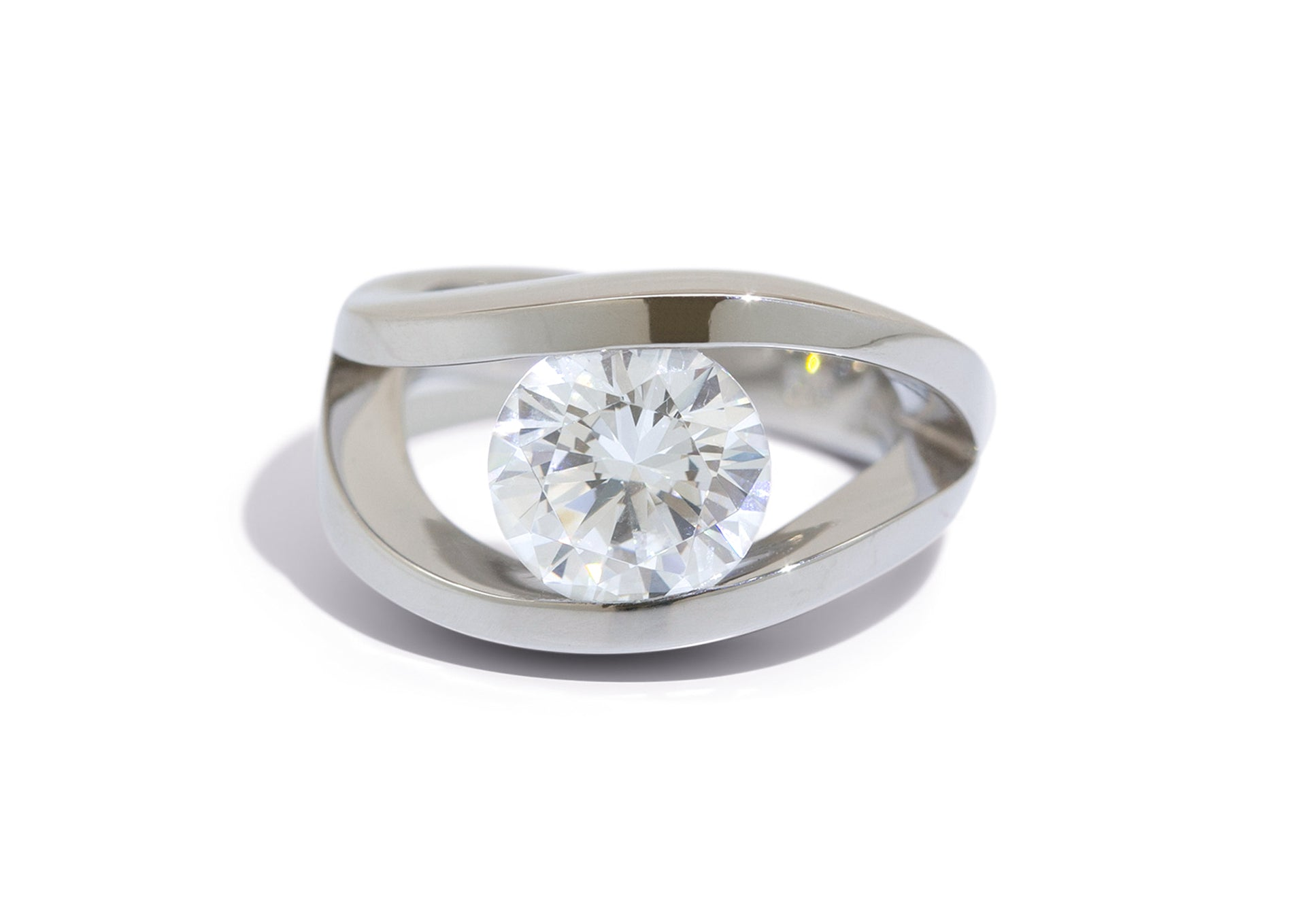 Custom Double Wave Tension Set Moissanite Ring, Platinum