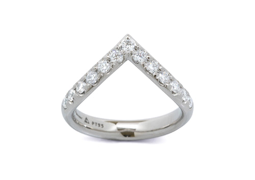 Wishbone Shaped Diamond Wedding Band, Platinum