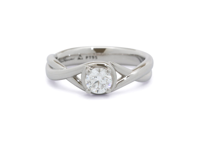 Custom Solitaire Vine Inspired Diamond Ring, Platinum