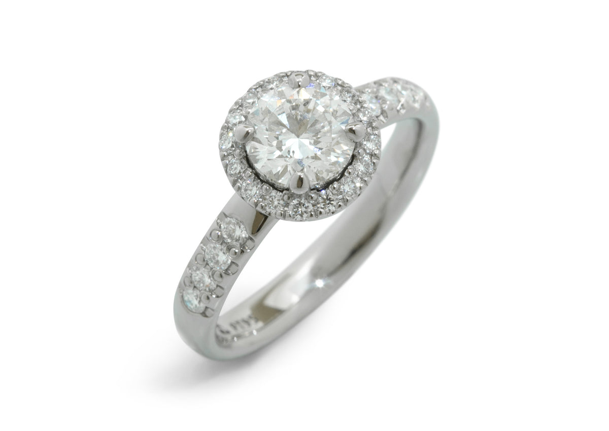 Round Diamond Halo Ring, Platinum