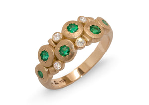 Custom Emerald & Diamond Ring, Red Gold