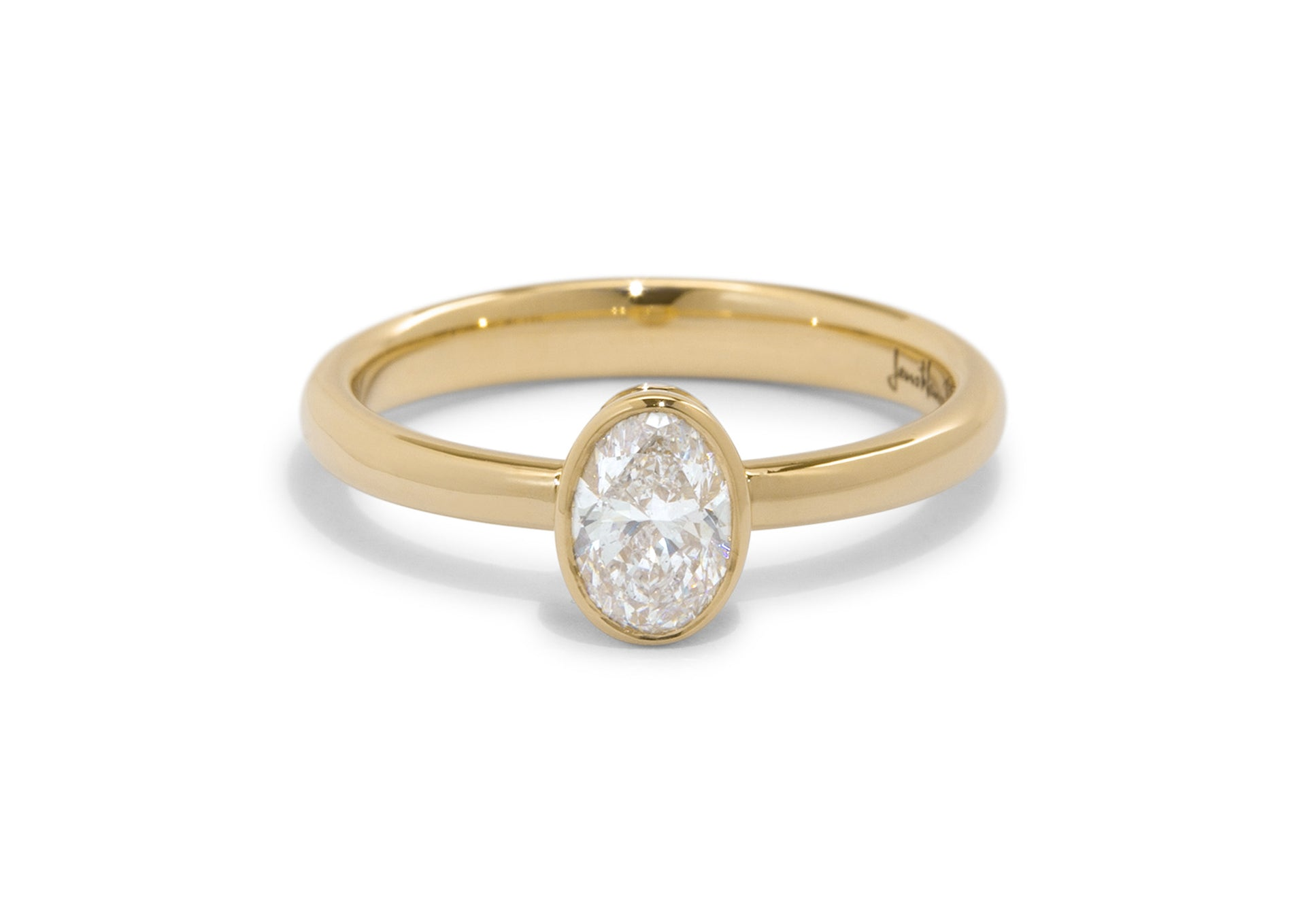 Oval Diamond Bezel Engagement Ring, Yellow Gold