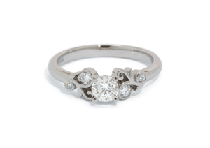 Custom 5 Stone Vine Inspired Diamond Ring, Platinum