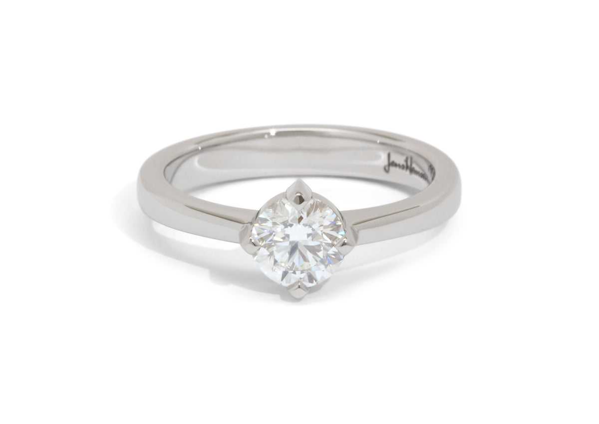 Custom Diamond Solitaire Engagement Ring, Platinum