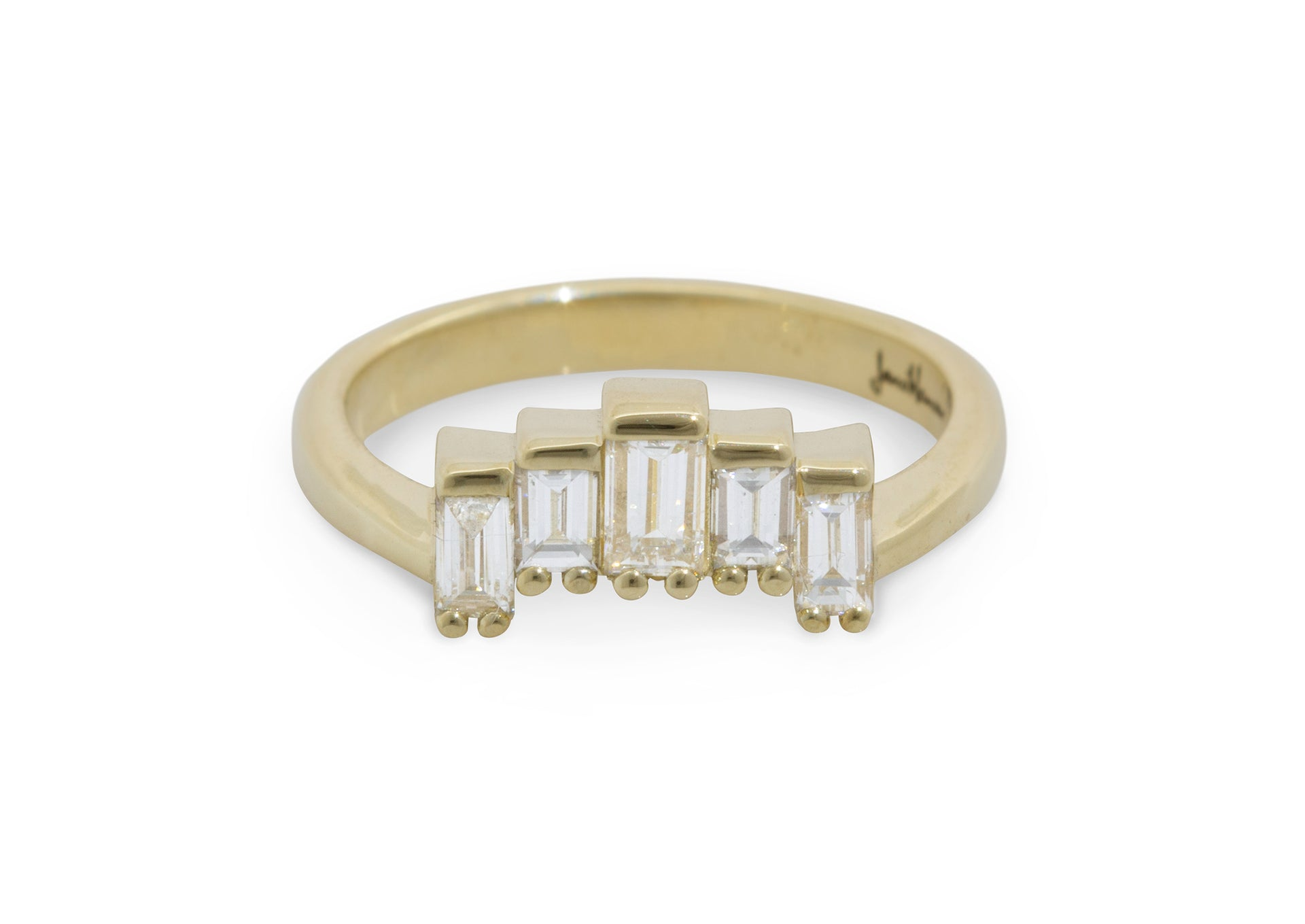 Custom Baguette Diamond Wedding Band, Yellow Gold