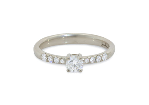 Eros Diamond Engagement Ring, White Gold & Platinum