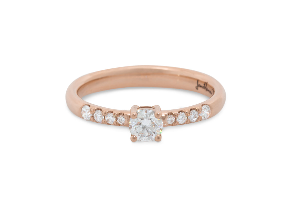 Eros Diamond Engagement Ring, Red Gold