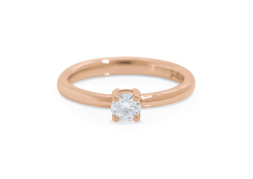 Sweet Diamond Engagement Ring, Red Gold