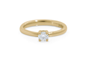 Sweet Diamond Engagement Ring, Yellow Gold