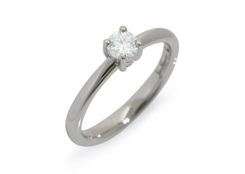 Sweet Diamond Engagement Ring, White Gold & Platinum