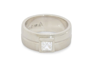 Custom Princess Diamond Band with Contrasting Metal Textures, White Gold