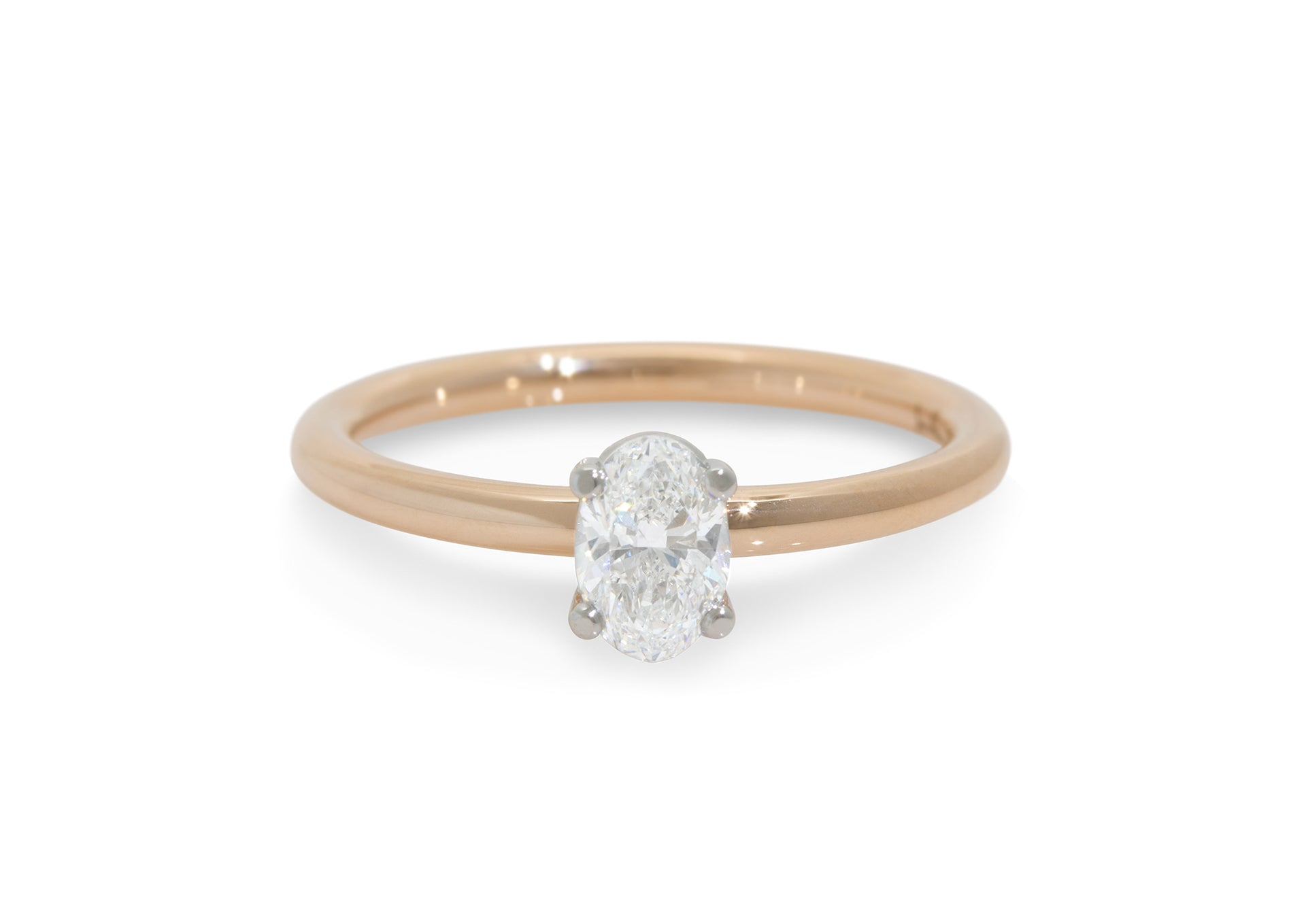 Ellipse Diamond Engagement Ring, Red Gold & Platinum
