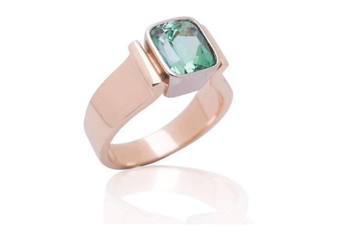 Green Tourmaline Bezel set in Bi-Tone Ring Design   - Jens Hansen - 1