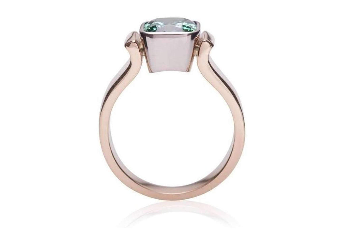 Green Tourmaline Bezel set in Bi-Tone Ring Design