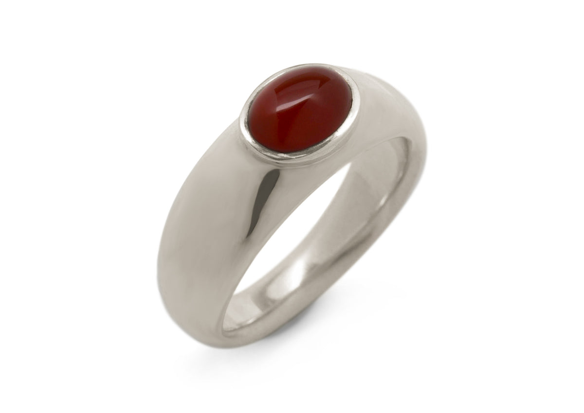 Splendid Cabochon Gemstone Ring, White Gold & Platinum
