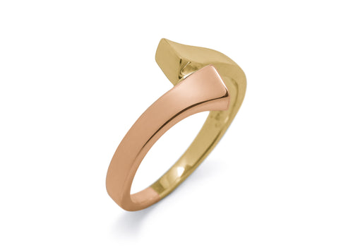 Geometric Bitone Dress Ring, Yellow & Red Gold