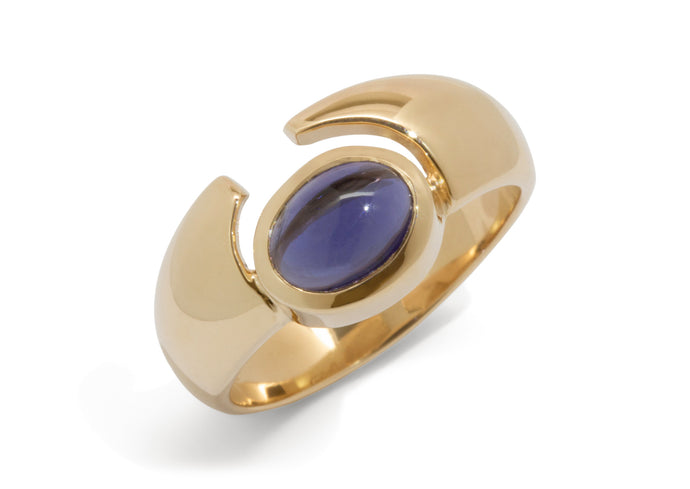 Horizontal Oval Cabochon Gemstone Ring, Yellow Gold