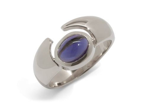 Horizontal Oval Cabochon Gemstone Ring, White Gold & Platinum