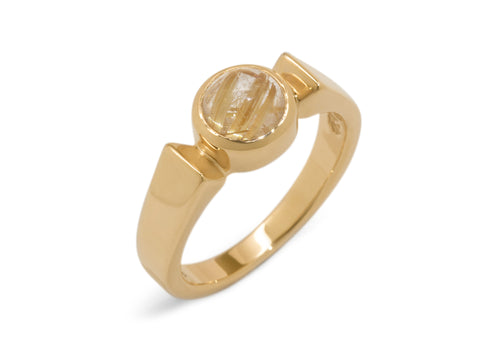 Classic Round Cabochon Gemstone Ring, Yellow Gold