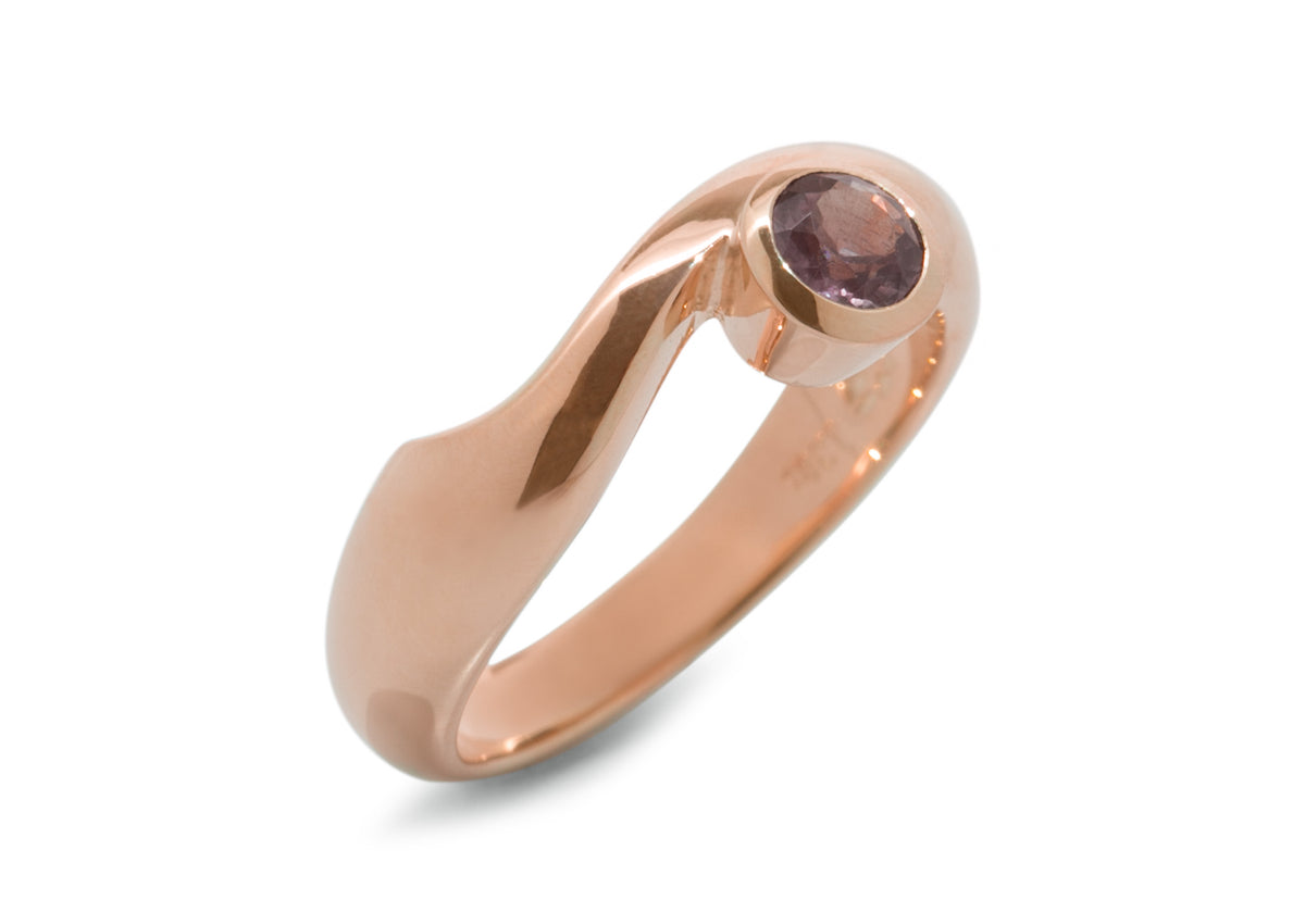 Delicate Gemstone Ring, Red Gold