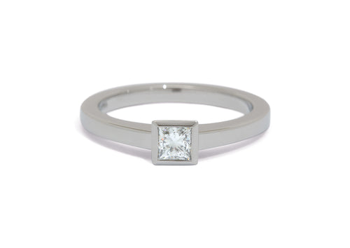 Princess Diamond Solitaire Ring, White Gold & Platinum