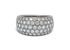 18ct White Gold Dome Ring with Pave set Diamonds