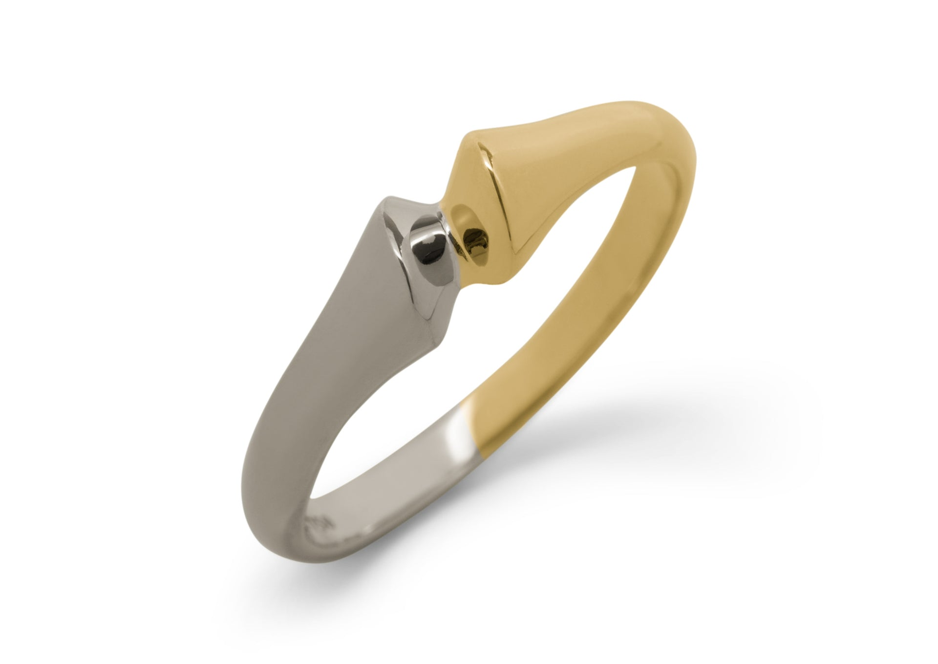 Geometric Bitone Dress Ring, Yellow & White Gold
