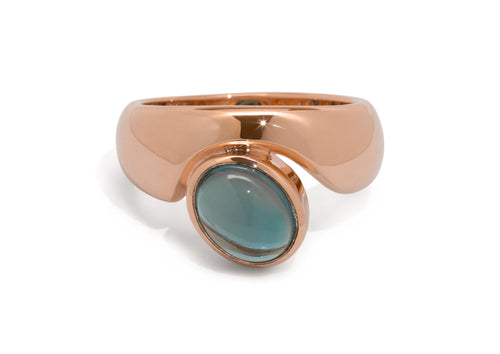 Stunning Cabochon Gemstone Ring, Red Gold