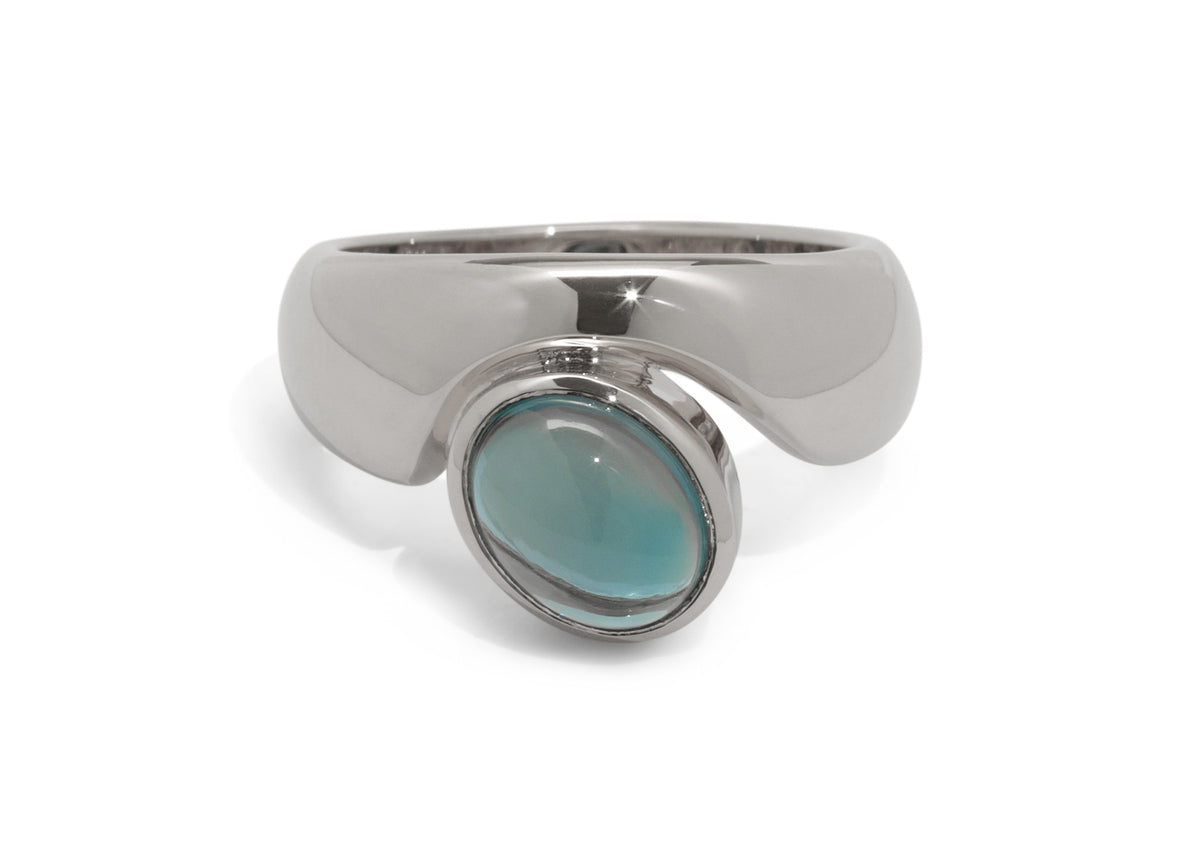 Stunning Cabochon Gemstone Ring, Sterling Silver
