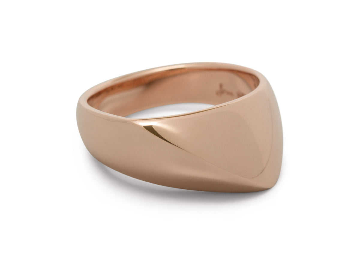 Diagonal Dome Ring, Red Gold
