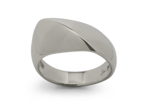 Diagonal Dome Ring, White Gold & Platinum