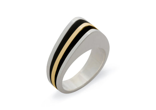 "Bitone ""Sydney Fin"" Ring, Sterling Silver & Yellow Gold"