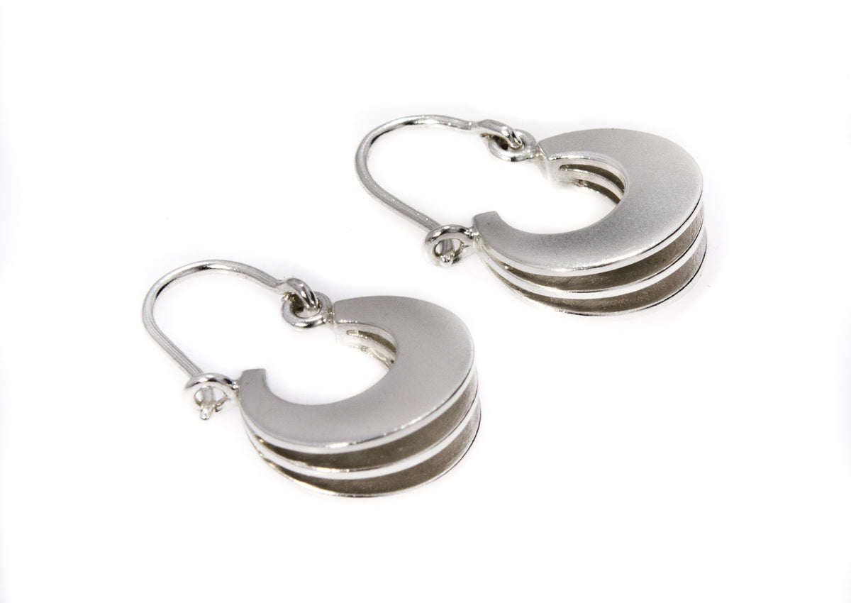 "Crescent Style ""Sydney Fin"" Earrings, Sterling Silver"