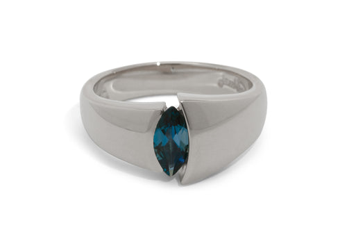 Alluring Marquise Gemstone Ring, White Gold & Platinum